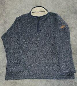 Orvis Mens Blue Marl 1/4 Zip Sherpa Pullover Fleece Lined - Size XXXL.