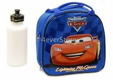 Disney Blue Cars Mcqueen Lunch Bag w/ Shoulder Strap & Water Bottle