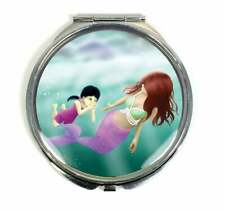 Mermaid Swimming Lesson Handmade Compact Mirror - Gifts For Women and Girls