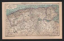 Landkarte map 1899: ALGERIEN und TUNESIEN. Mittelmeer Africa Afrika