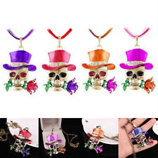 Retro Nice Silver Jewelry Necklace Pendant Skull Flower Crystal Sweater Chain