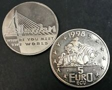 Stadspenning Rotterdam 5 euro ecu Erasmusbrug, Where you meet the world 1998