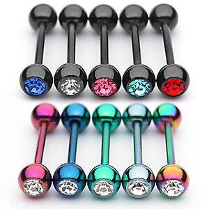 Titan Plattiertes Zungenpiercing Hantel mit Zirkonia Farben