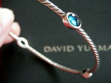 David Yurman SSilver 4-Station Blue Topaz Color Classics Bangle Bracelet