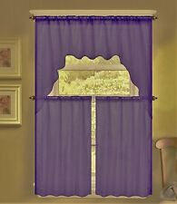 3PC K66 PLUM VOILE SHEER KITCHEN WINDOW CURTAIN 2 TIERS AND 1 SWAG VALANCE SET