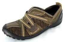 Clarks Privo Shoes Sz 6M Brown Quilted Fabric Bronze Leather Slip-On Loafers 6 M
