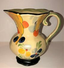 Wadeheath Small Vintage Hand Painted Pottery Pitcher Floral Flowers England Art