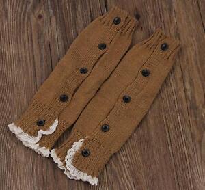 Winter Warm Knit Crochet Button Leg Warmers Lace Trim Cuffs Socks N3