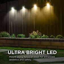 2x Solar Powered Gutter Fence 4-LED Lights Outdoor Garden Wall  Lamp Waterproof