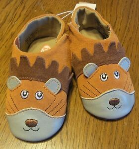 Size 4-no box- Zooligans Baby Boys Leonard the Lion Soft Soled Booties
