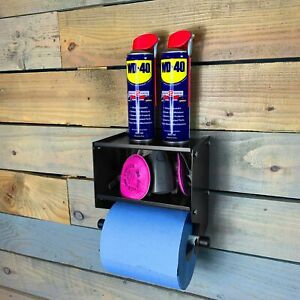 MegaMaxx UK™ Blue Roll Industrial Paper Towel Holder Dispenser Double Shelf
