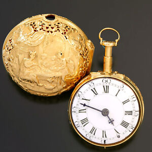 20K GOLD 7-1/2 MINUTE REPEATER BOY LONDON POCKET WATCH CA1730S REPOUSSEE CASE