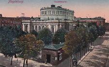 AK Magdeburg geschr. 1919 Stadttheater Café Konditorei Straßenbahn-Gleise