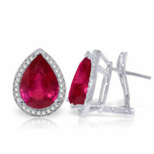 Genuine Pear Rubies & Diamonds French Clip Earrings 14K White, Yellow, Rose Gold