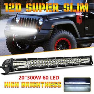 "20"" Ultra Slim 12D LED Work Light Bar Dual Row Spot Flood Combo 4x4 SUV Offroad"