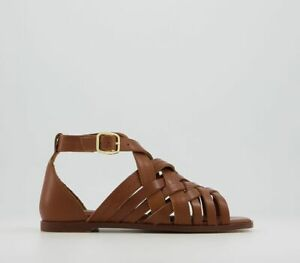 Womens Office Sabina Woven Cross Strap Sandals Tan Leather