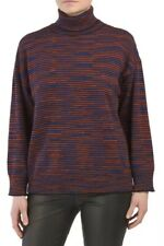 M Missoni Women's Sweater Large Oversized Wool Striped Turtleneck Pullover