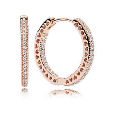 💎NEW PANDORA Earring Hoops With Crystal Hearts Rose Gold Round Hoop Fas S925 💋