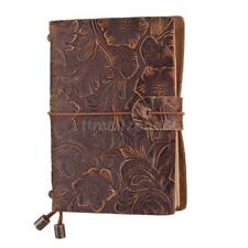 Vintage Leather Refillable Travel Journal Sketch Notebook Embossed Notepa T5T2