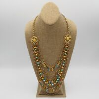 Gorgeous Vintage Estate Pastel Bead Multi Strand Necklace    As Is Missing Bead