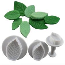 3Pcs Flower Leaf Fondant Cake Cutter Plunger Cookie Mold Decorating Kitchen Tool