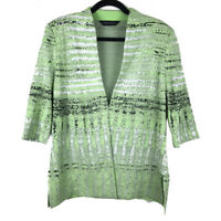 Ming Wang Green Open Cardigan Knit Sweater 3/4 Sleeves Size Large