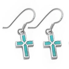 Dangle Style Turquoise Cross .925 Sterling Silver Earrings