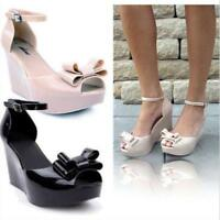 Women Summer Jelly Wedge High Heels Sandals Open Toe Bowknot Platform Shoes