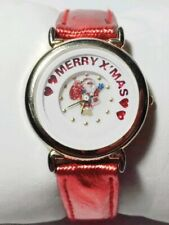 Christmas Watch Gold Case Red Shine Leather Band Animated Dial Santa Clous Heart