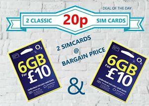 2X O2 Sim Card New and Sealed £0.20p O2 Pay As You Go 02 PAYG UNLIMITED CALLS