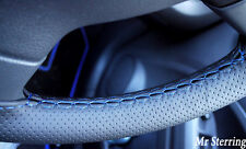 FOR JEEP PATRIOT 06-13 BLACK PERFORATED BLUE STITCH LEATHER STEERING WHEEL COVER