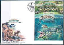 NIGER 2013 FAUNA OF AFRICA  CROCODILES  SOUVENIR SHEET FIRST DAY COVER