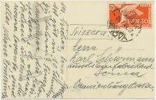 ITALY 1949 25 L espresso express stamp single postage VF postcard to Switzerland