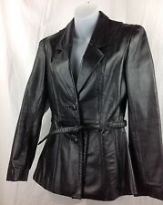 Bermans Vintage Black Leather Belted Jacket Fitted Button Blazer Womens 8 Small