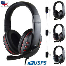 3.5mm Wired Handsfree Earphone Gaming Headset Stero With Mic For PC Notebook US