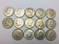 1967, 1967,1968,1969 KENNEDY HALF DOLLAR ROLL 40% SILVER  COINS - 14 COINS