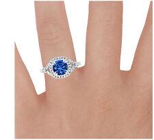 1.60 Ct Natural Diamond Natural Blue Sapphire Ring 14K White Gold Gemstone Rings