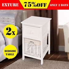 2 Bedside Table Shabby Chic Cabinet Lamp Nightstand Drawer Bedroom Hallway