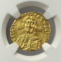 Rare Byzantine Empire Justinian II AD 685-695 Gold Solidus NGC MS Jesus Christ