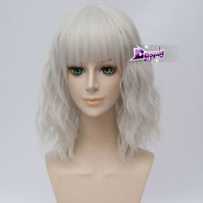 "14"" Short Curly Silver White Bangs Anime Cosplay Wig Heat Resistant+Wig Cap"