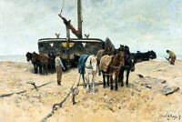 Fishing Boat on the Beach by Anton Mauve 75cm x 50.4cm Canvas Print