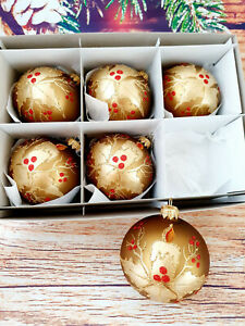 6 Hand Painted Glass Baubles Christmas Tree Decorations 80 mm/8cm,high quality!