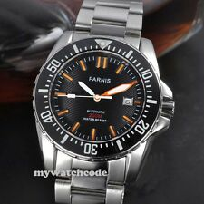 43mm PARNIS black dial Sapphire glass waterproof 200m automatic dive mens watch