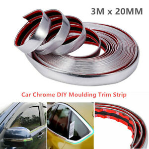 3M Car Chrome DIY Moulding Trim Strip For Grille Window Door Bumper Decoration