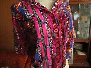 M/L Vtg 80 Cropped Rayon SOUTHWESTERN PRINT Shirt 1 TRY
