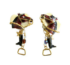 Lunch at the Ritz Gold Tone & Enamel Equestrian Horse Dangle Earring Clips
