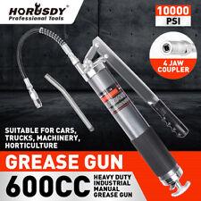 Heavy Duty 600cc Manual Grease Gun Flexible Hose Coupler 10000psi Oiling Tools