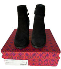 Tory Burch Sofia Lug Sole Ankle Boot Bootie Size 7.5 Black Suede