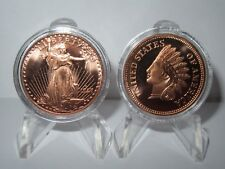 Indian Penny and Liberty - Lot of 2 Copper Rounds .999
