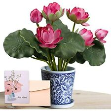 Snail Garden 2 Bouquets Artificial Lotus Flowers, Real-Touch Water Lily Tabletop